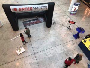 Schussgeschwindigkeitsmessanlage, Foto Tool und aufblasbares Tor für PR-Aktion der Fußballfabrik