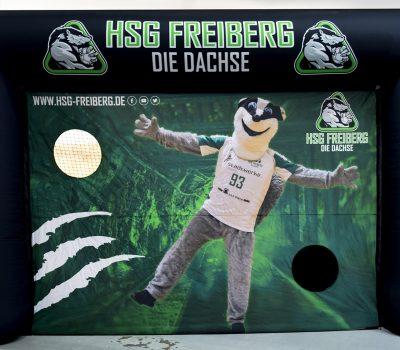 Aufblasbares Tor mit Branding & Torwandeinsatz_HSG Freiberg_Die Dachse