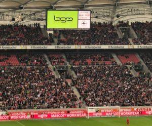 Geschwindigkeitspresenting VfB Stuttgart, Presenting auf Arenaleinwand
