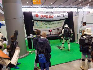Speed measuring system as fair-highlight-branded inflatable goal-fair-highlight