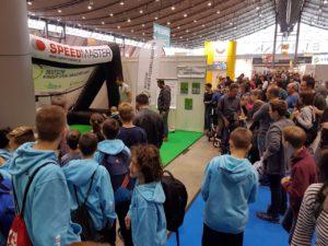 Speed measuring system as fair-highlight-branded inflatable goal-stuttgart