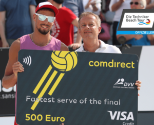 beachvolleyball-service speed measuring- sponsoring comdirect-winner male