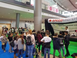 speed measurement and inflatable goal for fairs