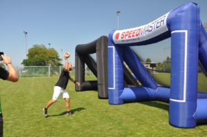 speed measurement system and the inflatable goal-handball-event tool