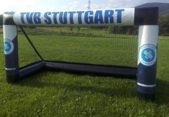 Fully pneumatic goal banner branding event system TVB Stuttgart