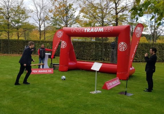 Speed meassurement football kick inflatable goalwith branding fsv mainz