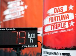 Speedmaster Fußball Bundesliga Fortuna Düsseldorf Event Modul Geschwindigkeitsmessung und aufblasbares Tor