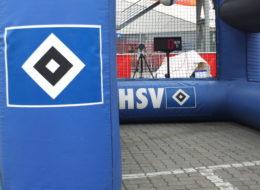 Speedmaster football Bundesliga HSV Event module speed meassuring and inflatable goal