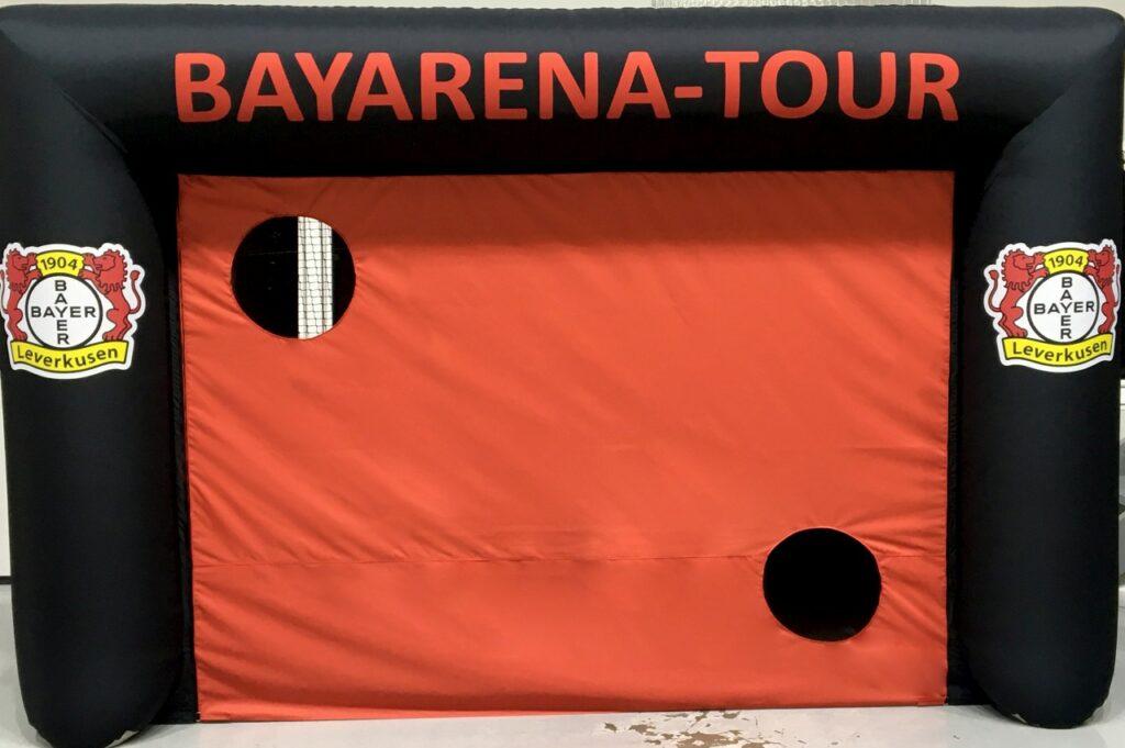 Aufblasbares Tor mit Druck und Torwandeinsatz_Bayer Leverkusen